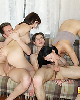 Girls caressed together with fucked